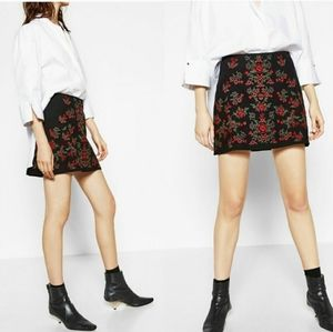 Zara Basic Collection Rose Embroidered Mini Skirt